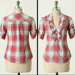 Odille Plaid Ruffle VNeck Blouse Short Sleeve